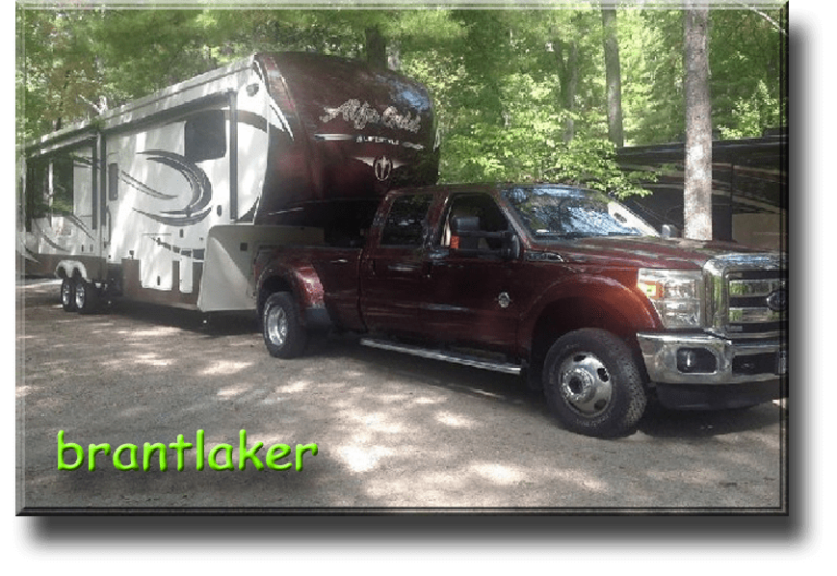 Brantlaker Description F350 DWD pulling my 2016 Alfa Gold SH