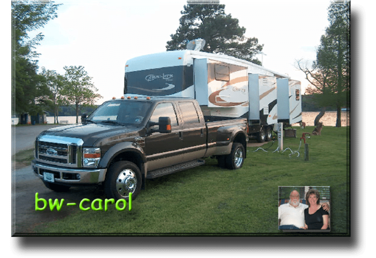B.W. - B.W.-Carol Gentry Description 2007 Carriage Carri-Lite XTRM5, 2008 Ford F-450, Full-time for 9 1/2 years,  Now - Part-timing, Full-time Forum & Owners Club Admin (LOL), Favorite places - Yellowstone, U.P. Michigan, Colorado, Home Base - Texas, built a new home 2015