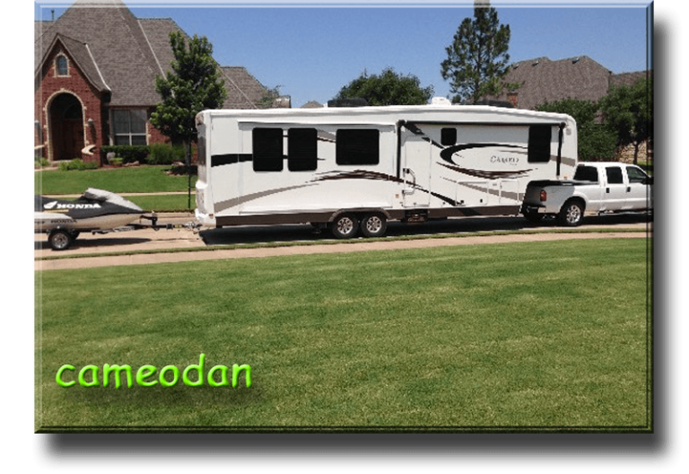 CameoDan ... Dan and Cherri Williams, OKC Description 2011 Cameo 37RE3 with a 2008 Ford F250 and a Honda jet ski. Leaving town for a week on the lake. We camp approx. 30 days a year. Red River, NM is our favorite location, 8K feet elevation and out of the summer heat and humidity of OK. Also love Santa Fe, NM and Port Aransas, TX as destinations. Don\'t plan to full time, but need to get closer to 60-90 days of camping per year is our retirement goal in a couple years of. We started camping in a tent, then migrated to 2 pop up trailers, then a Colorado Travel Trailer, and finally a Cameo which we love.