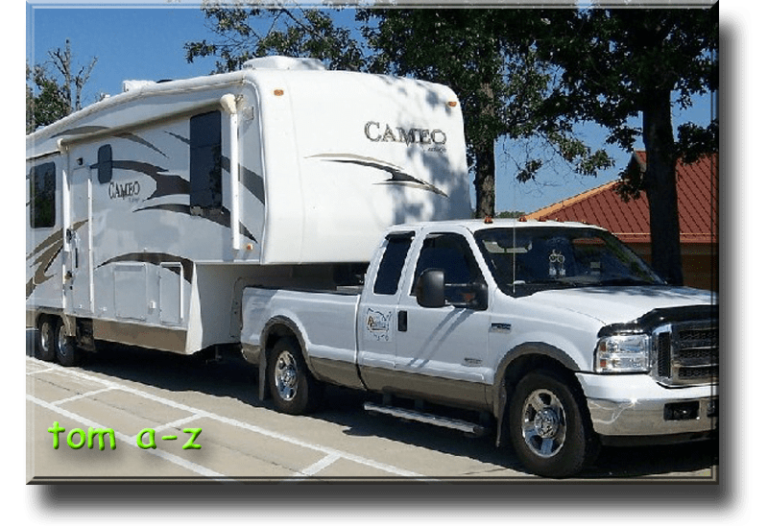 """Tom (A to Z) - Tom and Carolyn Amrozowicz Description2008 Cameo 35SB3, 2005 Ford F-350, extended cab, 4X2, SRW diesel 6.0 Full timers since Sept. 2000. Active members of MAPS RV Volunteers which is part of the Assembly of God\'s US Missions. \""""Building Churches, Changing Lives.\"""" Assembly of God churches, colleges and universities, Bible camps, children homes, and Teen Challenge Centers. Volunteer construction, renovations, and building maintenance. Just turned 80 on Dec 2015."""