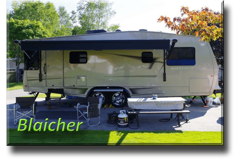 """Blaicher - John Blaicher Description: 2010 Carriage DomaniDT3000, 2013Ford 350  After owning dozens of boats ranging from 10' to 43' in length my wife and I decided it was time to get off the water and explore more of North America by RV. After doing months of research and debating the pros and cons of Coach vs 5th wheel vs Travel Trailer we finally decided on a TT that we thought we could tow safely with our nearly new Toyota Tundra. The Trailer we ended up purchasing was a 2010 Carriage DOMANI which we still own and absolutely LOVE. Unfortunately, the """"Tundra"""" was not the proper tow vehicle and was quickly replaced after our 1st. long haul (white knuckle) towing experience. Now we tow very comfortably and safely with a Ford 350 Dual Rear Wheel 6.7L Diesel. The difference is night and day and I would never go back to towing with a gas engine vehicle. I am an avid kiteboarder and mountain bike enthusiast, so we try and plan our travels around new kiteboarding destinations. We both love the RV lifestyle and are constantly being asked questions about our DOMANI. I don't think Carriage made too many DT3000 units and not many of the ones they made seemed to have ended up in Canada. In 8 years, we have never run across another TT like ours. We fell in love with it the first time we saw it, and still, think it is one of the most stylish and well built TTs on the road today!"""