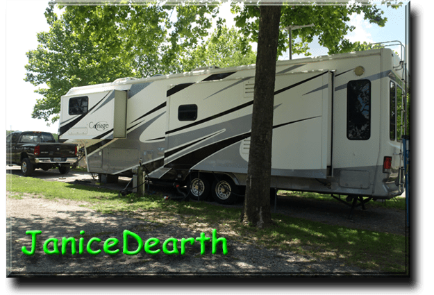 """JaniceDearth - Janice Dearth  2006 Carriage CW378 - 2005 Dodge Ram  We purchased this Carriage 5th wheel, 2nd one having had a Carri Lite previously, in 2014. Simply love it! In March of 2017, we had our Carriage repainted. Looks like new! We are full timers as well as gate guards in the oil fields some winters. My husband and I plus our beloved Australian Shepherd, now almost 14, spend a lot of time in southern Texas. As members of Escapees, we're currently seeking a more permanent parking spot in Arizona. Looking forward to full retirement. Maybe spring of 2020? Who knows? This past May me set out with our Carriage and traveled from Texas, through Mo, visiting daughter and grand daughters, then to Ohio, also visiting family, then to Canada for 2 weeks visiting nieces and brother in law, then I judged an Obedience and Rally trial Fathers' Day weekend in Wadsworth, Oh, then to Winston-Salem, NC to visit sister-in-law, Janice (we have the same name!), finally heading back to Texas where we're in Luling right now, for a month. Steve doesn't drive anymore so I did all the driving putting on 6300 miles by trip end. We had """"0"""" breakdowns, truck or trailer! I feel very blessed. Steve was an over the road truck driver most of our 40 years of marriage. I did also drive team with him for about 4 years, giving me good experience driving a 5th wheel. That being said, I do feel it's important, especially for full timers, that spouses learn to drive their 5th wheel, in case of any emergency. At our ages, 60's and 70's, anything can happen, and usually does. I also have put together a small 8 page, large print, booklet on how to setup, tear down, hookup, and unhook your 5th wheel. Nothing to do with hoses, just what it takes to park and go down the road. I'd be happy to send to anyone for the price of postage only. You can use my email address to contact me. Happy trails!"""